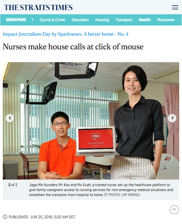 Jaga-Me featured by the Straits Times as one of the 50 Ideas to Change the World